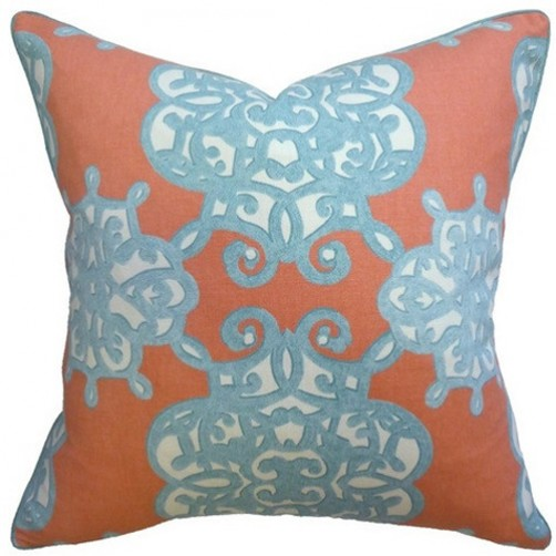 jakarta coral & turquoise pillow