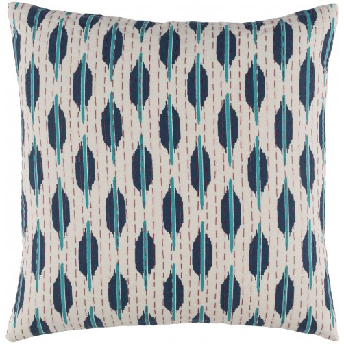 surya kantha teal & red pillow