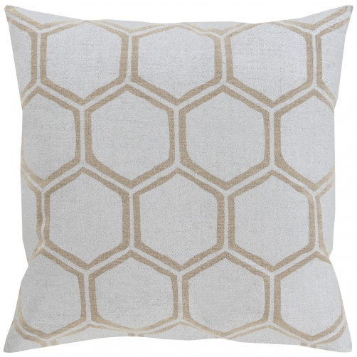 surya metallic stamped silver & tan pillow