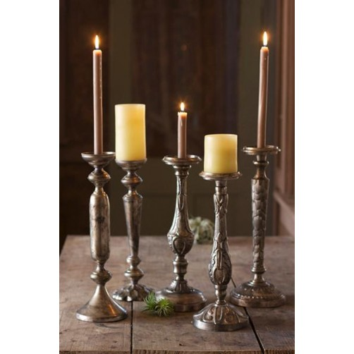 antique nickel plated candlesticks set of five