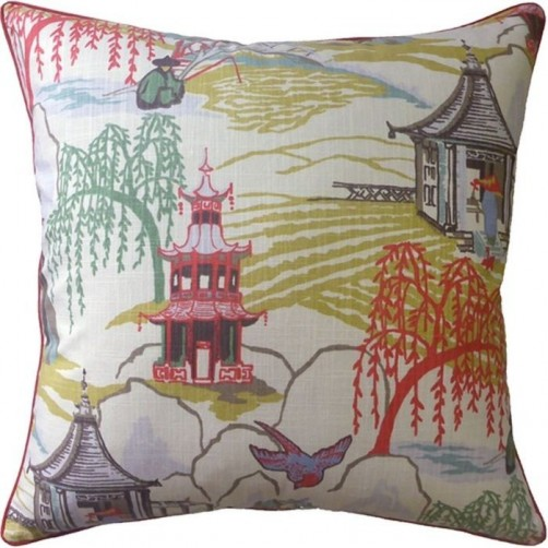 neo toile coral pillow
