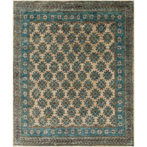 nomad collection beige & ocean rug