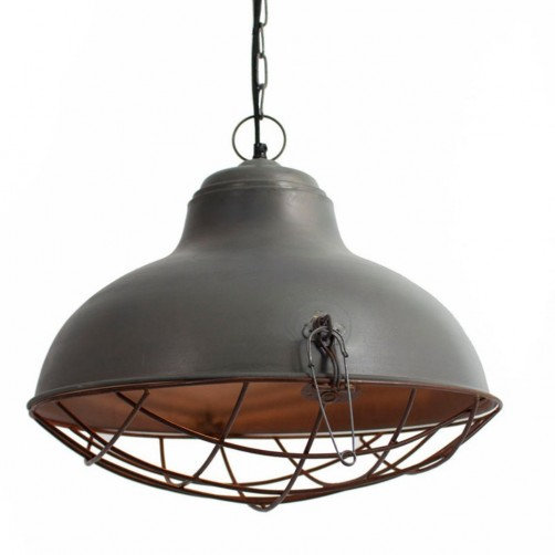 raw metal bell pendant w/ rustic cage