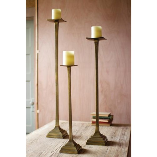 antique brass aluminum candle stands set of three