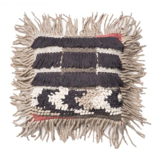multi texture grey fringe pillow