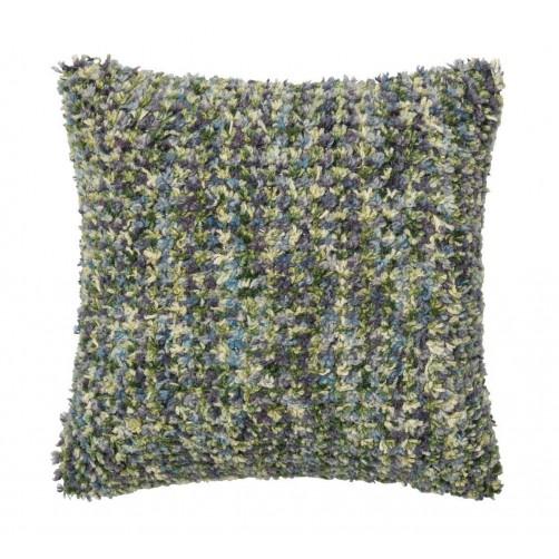 textured green & plum shag pillow
