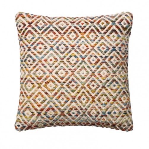 textured orange & multi diamond pillow