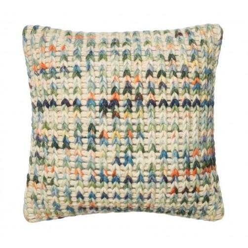 dhurri style green & multi pillow