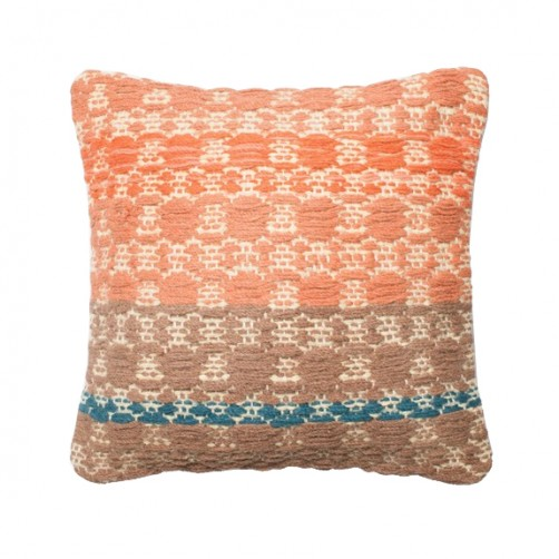 dhurri style rust & light brown trellis pillow
