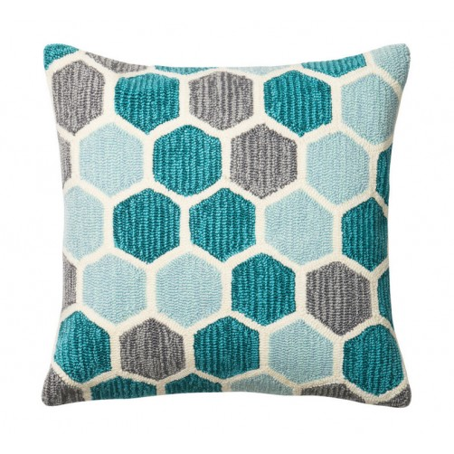 teal & multi hexagon pillow