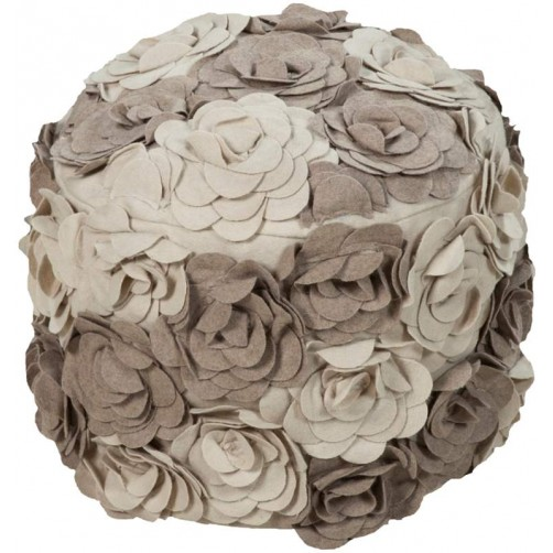 surya felted floral pouf