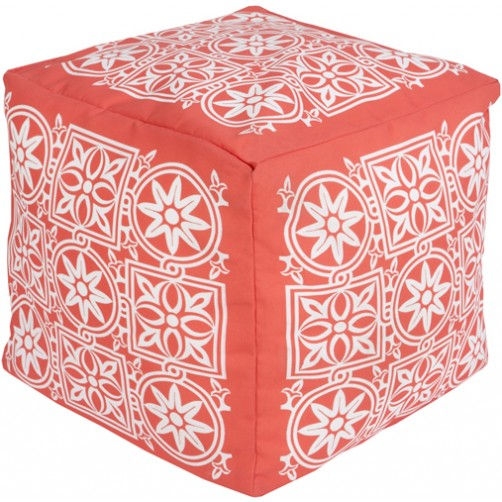 surya outdoor block print rain pouf in coral & blush