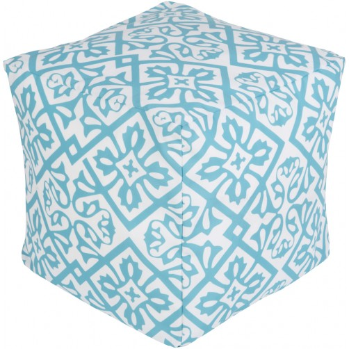 surya outdoor rain pouf in aqua & blush