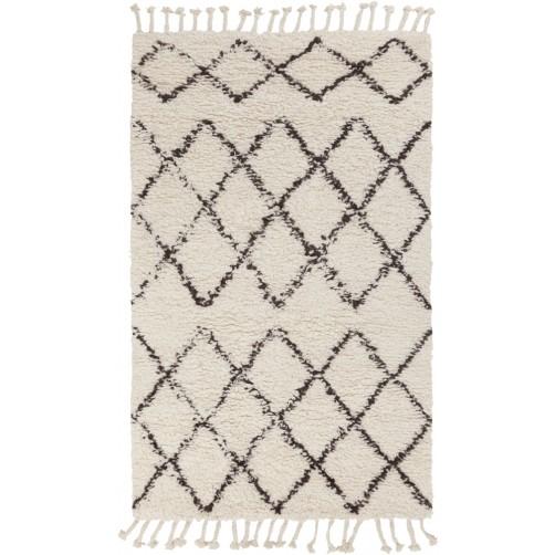 surya sherpa area rug, ivory and taupe