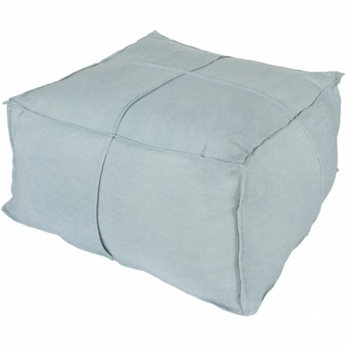 surya solid linen pouf