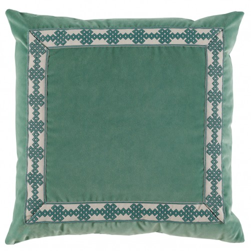lacefield viridian velvet pillow with amalfi glass tape