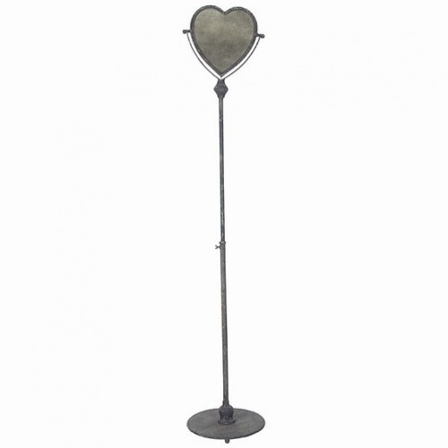 "rustica ""aged"" heart mirror stand"