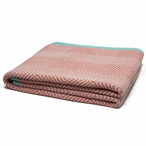 eco woven square throw blanket coral