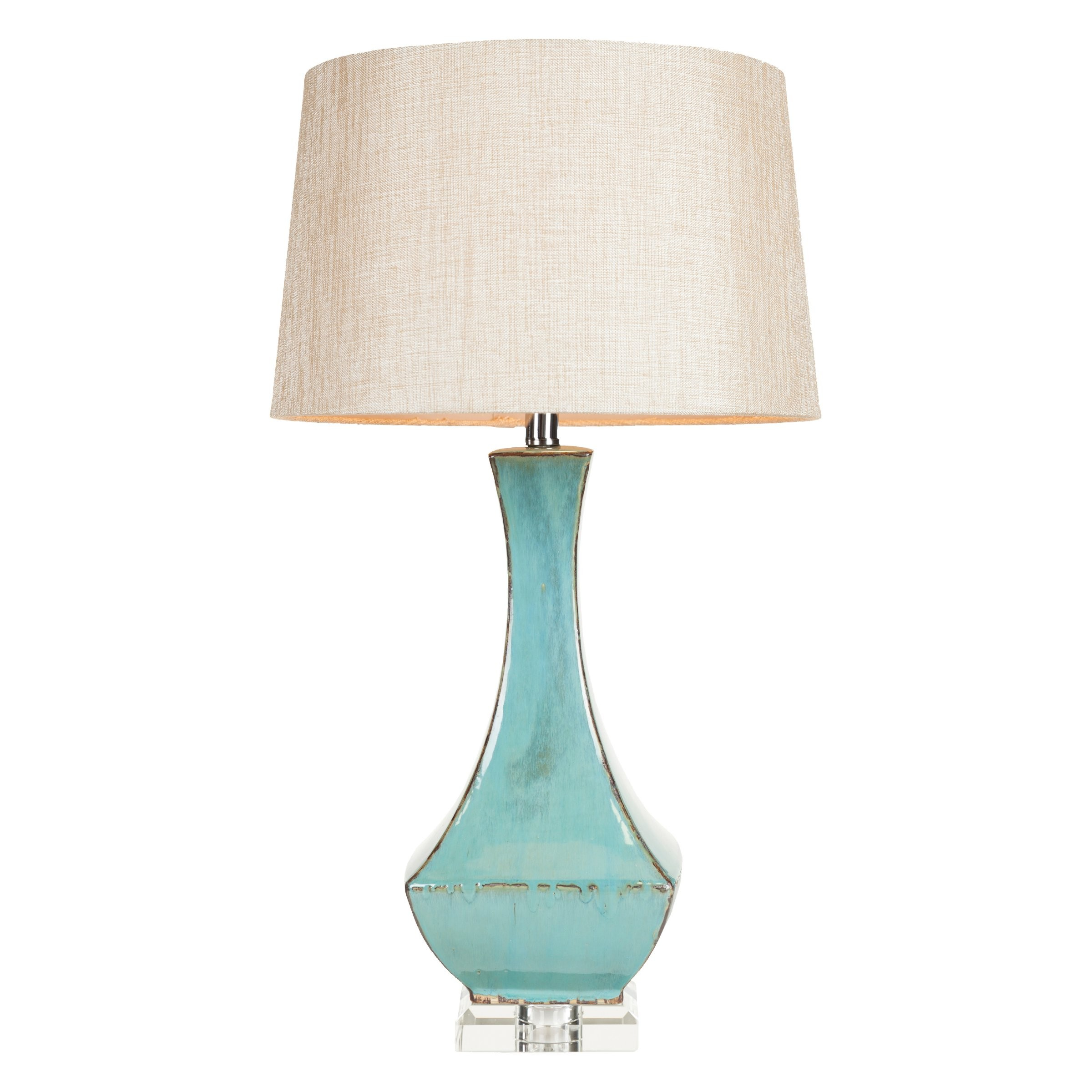 linen crystal fabric aqua bo shade glass table mirror modern h drum blue lamp