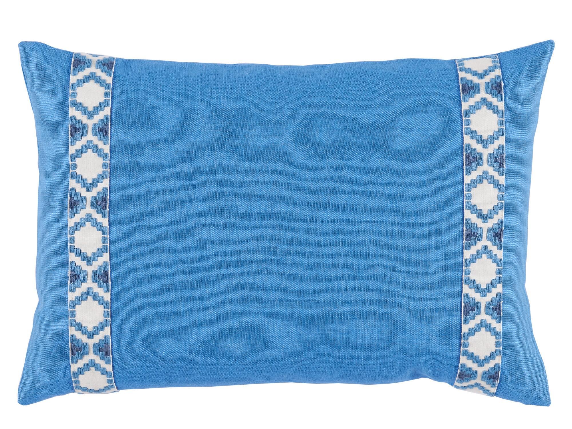 Lacefield Royal Linen With Regatta On White Camden Tape Lumbar Pillow Tuvalu Coastal Home Furnishings