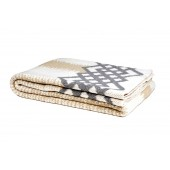 eco feathered stripe throw blanket flax/aluminum