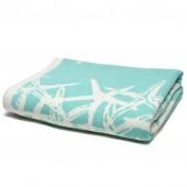 eco tumbling starfish reversible throw blanket seafoam