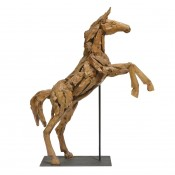 palecek driftwood standing horse with metal stand