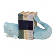 aqua whale bookend with distressed finish
