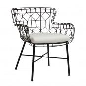 palecek capri outdoor arm chair, black