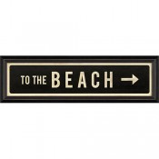 """to the beach"" right arrow street sign"