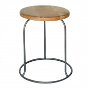 homart graham iron and wood stool, grey