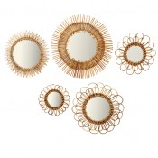 set of 5 natural rattan wall mirrors
