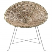 braided rattan lounge chair