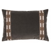 lacefield charcoal velvet with amalfi tape lumbar pillow