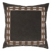lacefield charcoal velvet with amalfi tape pillow