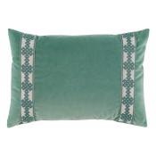 lacefield viridian velvet with amalfi glass tape lumbar pillow