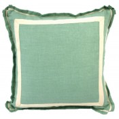 lacefield aqua linen with natural twill tape pillow