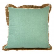 lacefield aqua linen pillow with eggshell pipe and jute fringe