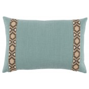 lacefield aquamarine linen pillow with fossil on tan camden tape