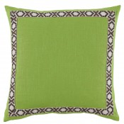 lacefield lime linen with fossil on white camden tape pillow