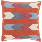 surya cotton kilim arrows pillow in rust