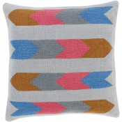 surya cotton kilim arrows pillow in blue