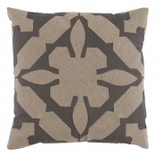 lacefield gloria applique grey and natural linen pillow