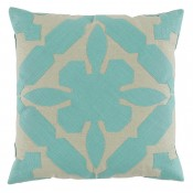 lacefield gloria applique seafoam and peacock linen pillow