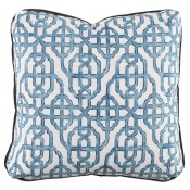 lacefield imperial seaside pillow with charcoal velvet flange and turkish corners