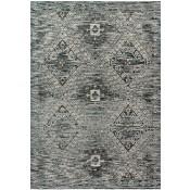 izmir collection blue & charcoal polypropylene rug