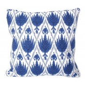 lacefield casablanca midnight pillow with white eyelash trim