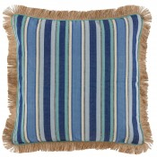 lacefield cobalt stripe pillow with peacock linen pipe and jute fringe