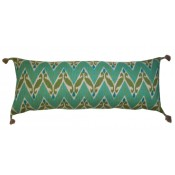 lacefield zig zag ikat aqua pillow with tassels