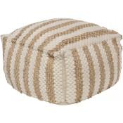 surya oak cove stripe white & khaki pouf